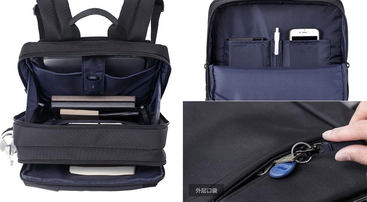 В рюкзаке есть несколько отделений
